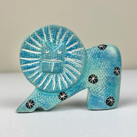 VTG Carved Stone Lion Hand Painted Figure MCM Blue